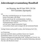 Jahreshauptversammlung der Handballabteilung