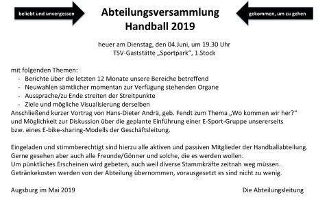 Einladung zur Abteilungsversammlung 2019
